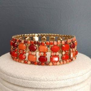 Jewelry - Orange tones beaded stretch bracelet